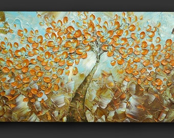 ORIGINAL Large Abstract Amber Flowers Tree Impasto Landscape Cherry Blossom Modern Palette Knife Painting