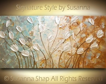 ORIGINAL Tulips Large Abstract White Flowers Painting Impasto Landscape Modern Palette Knife Contemporary Fine Artby Susanna 48x24