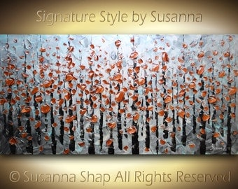 ORIGINAL Large Abstract Landscape Trees Impasto Textured Contemporary Fine Art Modern Palette Knife Painting by Susanna 48x24