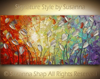 ORIGINAL Large Modern Abstract Texured Silver Tulips Landscape Palette Knife Impasto Oil Painting by Susanna 48x24