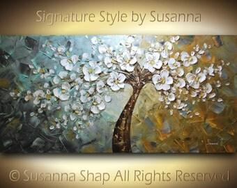 ORIGINAL Large White Cherry Blossom Tree Painting Palette Knife Impasto Oil Landscape art by Susanna 48x24