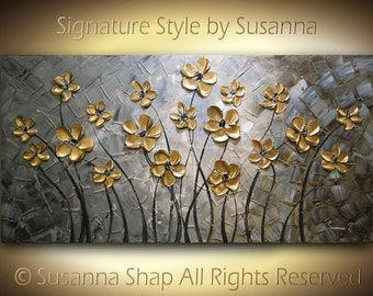 ORIGINAL Large Abstract Contemporary Fine Art Impasto Landscape Gold Flowers Modern Palette Knife Painting by Susanna 48x24