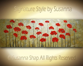 ORIGINAL HUGE 60x20 Ready to Hang Abstract Contemporary Brown Red Poppies Impasto Landscape Thick Texture Modern Palette Knife Oil Painting