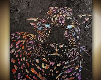 Original abstract contemporary textured leopard painting multicolored on black by Susanna 24x24 or 30x30 Made2Order