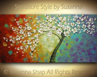 Tree of Joy ORIGINAL Oil Painting Landscape Multi color Whimsical White Cherry Blossom Impasto by Susanna 48x24 Made to Order