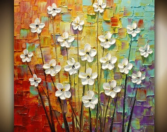 ORIGINAL Art Square Abstract Painting Contemporary White Flowers Thick Texture Modern Multicolored Landscape by Susanna 30x30