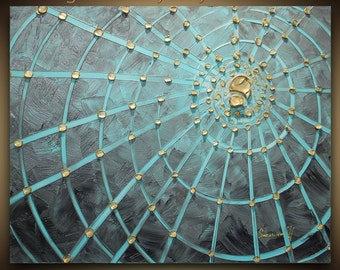 ORIGINAL Abstract Spider Web Contemporary Fine Art  modern blue grey gold painting Made2Order