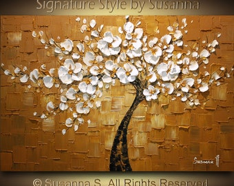 ORIGINAL Abstract Tree Brown White Cherry Blossom Impasto Landscape Textured Modern Palette Knife Oil Painting Ready to Hang 36x24