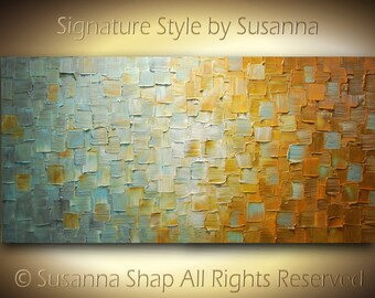 ORIGINAL Brown Blue Rust Large Abstract Fine Art on Canvas Textured Modern Palette Knife Painting Ready to Hang 48x24 by Susanna