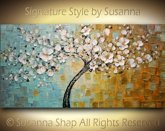 ORIGINAL Large Abstract Contemporary White Cherry Blossom Tree Oil Painting Thick Texture Gallery Fine Art by Susanna Ready to Hang 48x24