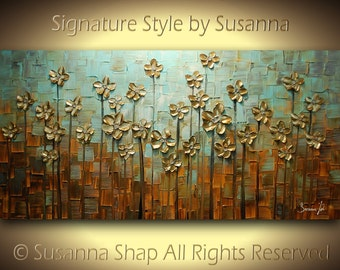 ORIGINAL Large Abstract Contemporary Textured Gold Daisy Flowers Landscape Painting Modern Palette Knife by Susanna Ready to Hang 48x24