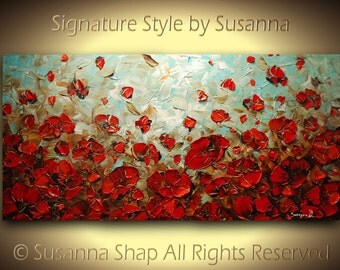 ORIGINAL Poppies Large Abstract Olive Green Red Impasto Landscape Oil Painting by Susanna 48x24 Ready to Hang Made2Order