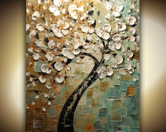 ORIGINAL White Cherry Blossom Tree Abstract Contemporary Oil Painting Thick Texture Gallery Fine Art by Susanna Ready to Hang 24x30
