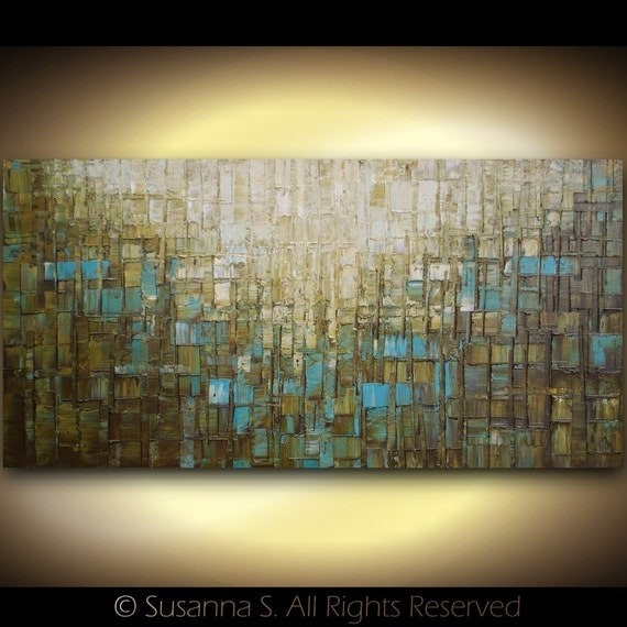FREE SHIPPING - ORIGINAL Large Abstract Contemporary Fine Art Modern Textured Palette Knife Oil Painting 48x24