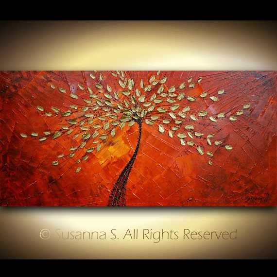 "RESERVED for NOETDesign - Original Large Abstract Contemporary Tree Painting Textured Modern Impasto Landscape Palette Knife Fine Art by Susanna 48""x24"""