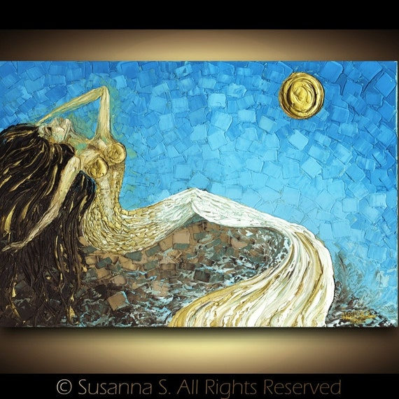 Large Modern Mermaid PRINT fantasy sunrise by Susanna 24x36