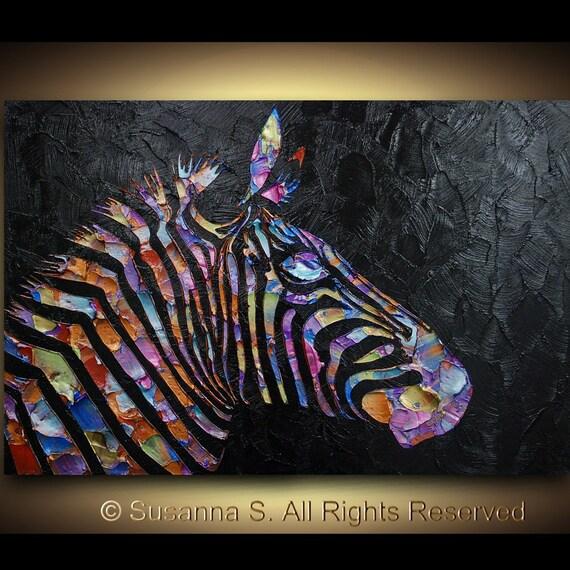 Original Pop Art Large abstract contemporary zebra painting metallic multicolor black palette knife impasto fine art by Susanna Huge 36x24