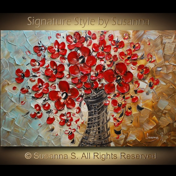 ORIGINAL Red Flowers Painting Large Contemporary Abstract Bouquet in Vase Impasto Textured Palette Knife art by Susanna 36x24