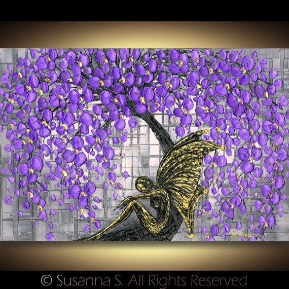 Black Fairy under Purple Cherry Blossoms Tree Fine Art Fantasy PRINT 13x19