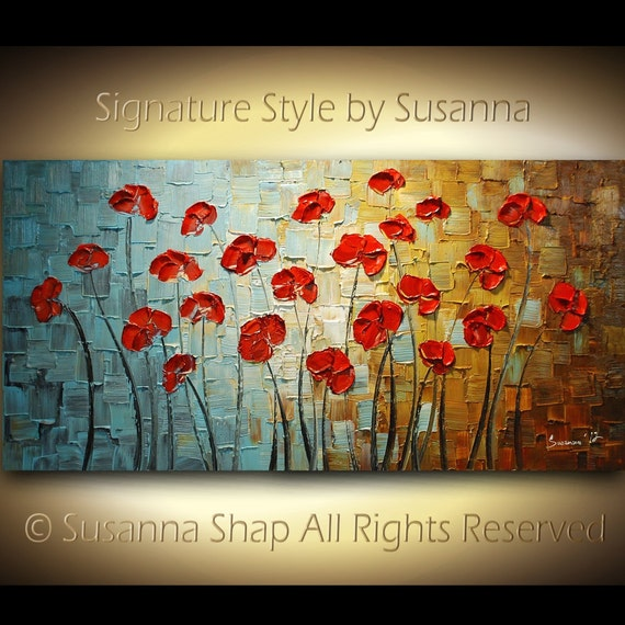 ORIGINAL Large Abstract Blue Brown Red Poppies Impasto Landscape Oil Painting by Susanna 48x24 Ready to Hang