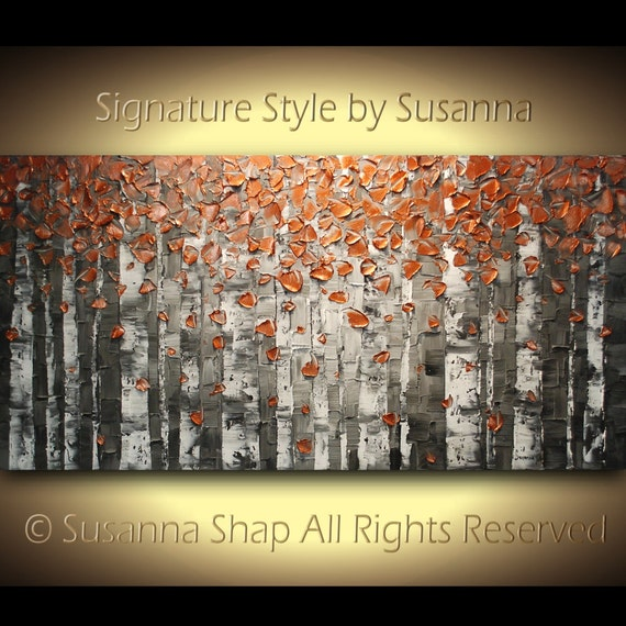 ORIGINAL Large Abstract Copper Birch Trees Impasto Landscape Heavy Textured Modern Palette Knife Painting by Susanna Ready to Hang 48x24