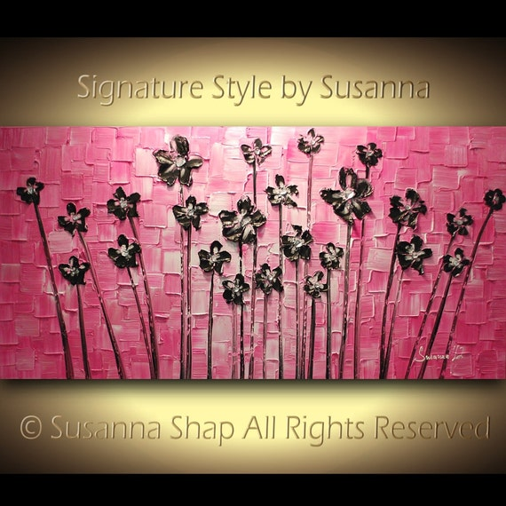 ORIGINAL Large Abstract Contemporary Hot Pink Black Flowers Landscape Heavy Texured Painting by Modern House Art Ready to Hang 48x24