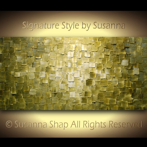 Original Large Abstract Fine Art on Canvas Textured Olive Green Moden Palette Knife Painting Ready to Hang 48x24 by Susanna