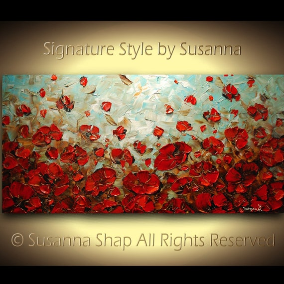 Red Poppy Landscape Painting ORIGINAL Abstract Modern Large Impasto Palette Knife Oil Painting by Susanna 48x24 Made2Order