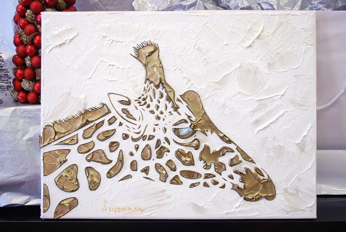 Original Abstract Giraffe Painting Gold White By