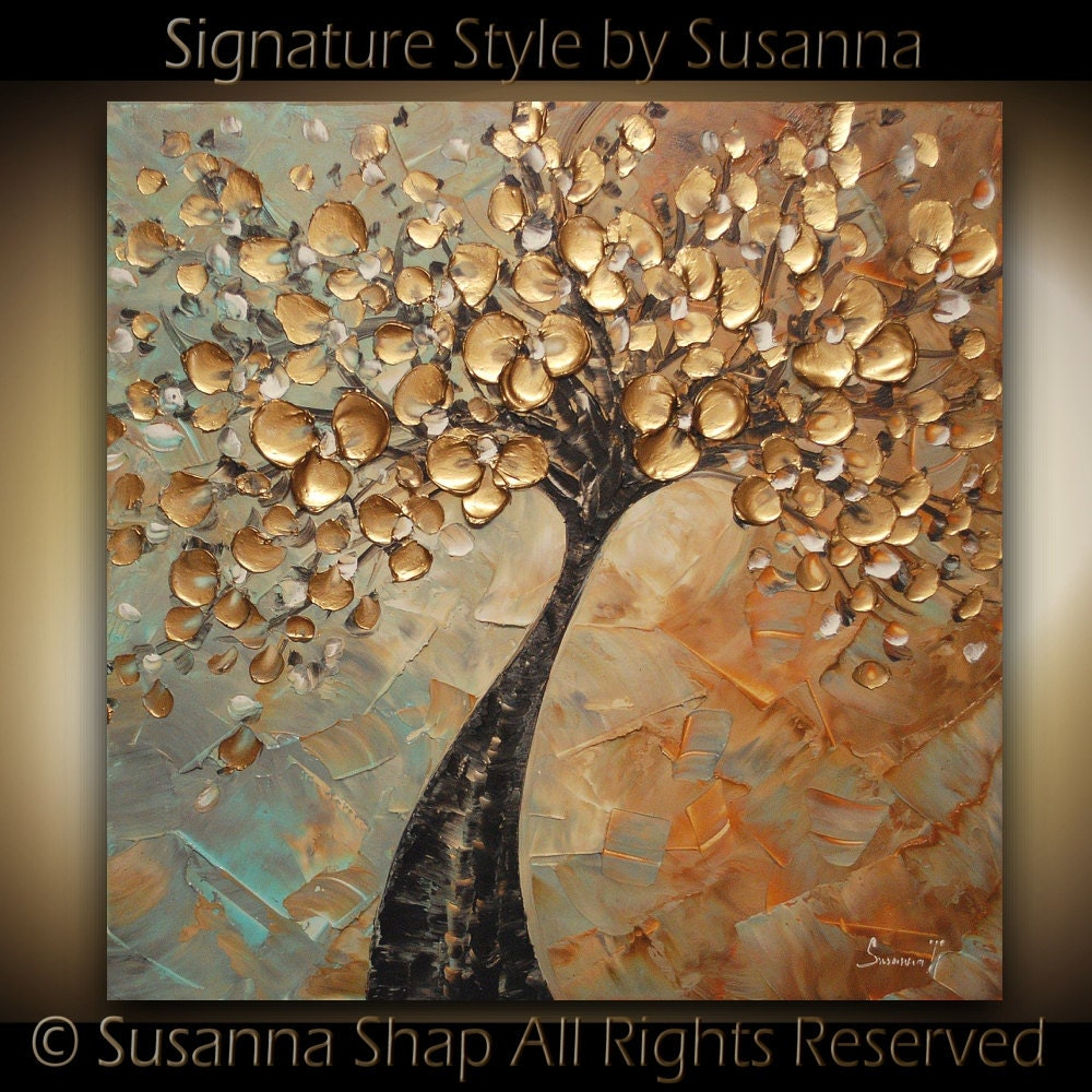 Original large abstract contemporary gold tree by for Tableau peinture contemporain
