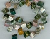 8mm Ocean Jasper Cube Beads set of 35