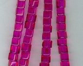 4mm Hot Pink Glass Cube Beads