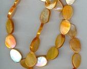8-10x14mm Orange Dyed Flat Teardrop Shell Gemstone Beads