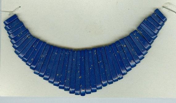 Blue Lapis Maxi Cleopatra Collar Fan 41pc Bead Set Faux Lapis