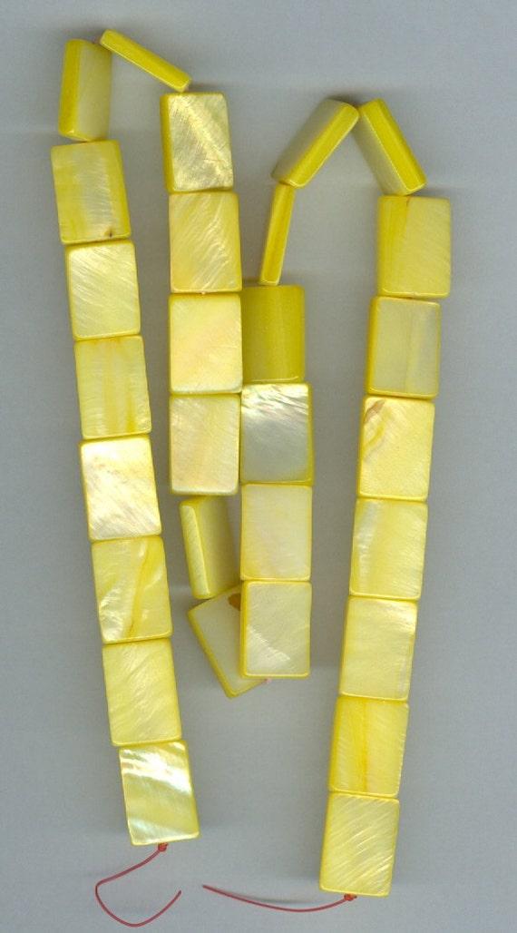 10x13mm Dyed Yellow Rectangle Flat Shell Gemstone Beads