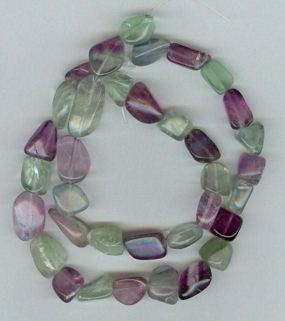 Green and Purple Fluorite Gemstone Tumbled Beads - Small size