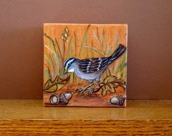 Original Oil Painting  White Throated Sparrow