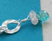 Gemstone Necklace - Tiny Gemstone Drop Necklace - Apatite and Rose Quartz in Sterling Silver