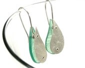 Sterling Silver and Aqua Resin Riveted Earrings - Immerse
