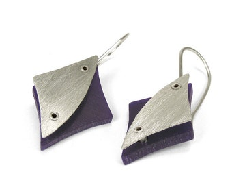 Sterling Silver and Purple Resin Riveted Earrings - Accolade