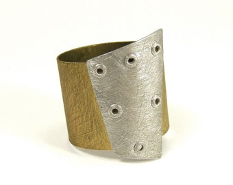 Sterling Silver and Brass Riveted Wide Band Ring Shield Series - Influence