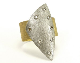 Sterling Silver and Brass Riveted Wide Band Ring Shield Series - Invigorate
