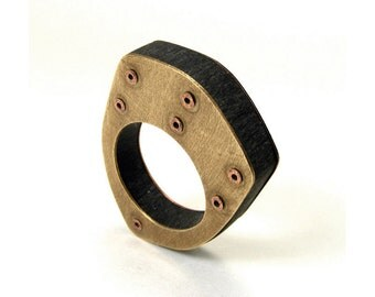 Copper, Brass & Black Resin Riveted Shield Oxidized Ring - Elevate