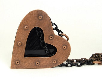 Oxidized Copper and Black Resin Riveted Heart Pendant Necklace - Extol