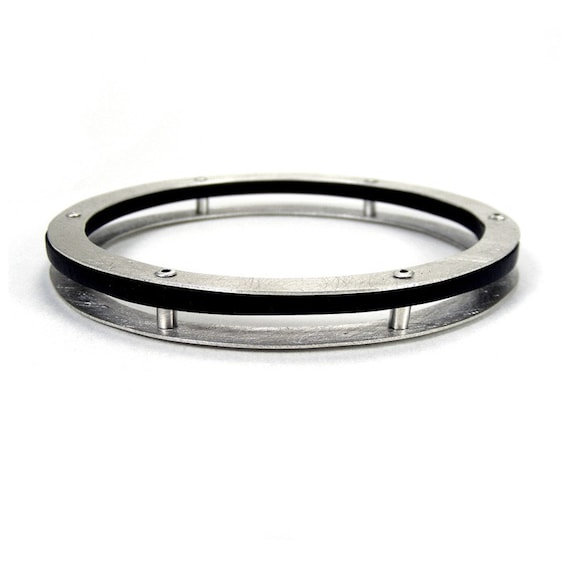 Cyber Monday Etsy, Sterling Silver and Black Resin Riveted Bangle Bracelet - Intrinsic