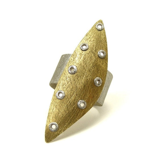 Sterling Silver and Brass Riveted Wide Band Ring Shield Series - Astute