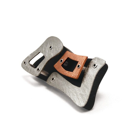 Sterling Silver, Copper and Black Resin Riveted Brooch  - Inherent