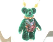 Dress Up Teddy Bear Sapphire, Topaz, Tanzanite and Gold Necklace