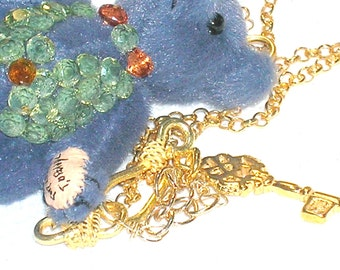 Dress Up Teddy Bear Peridot, Sapphire and Gold Necklace