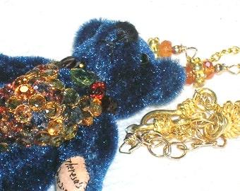 Dress Up Teddy Bear Garnet, Sapphire, Peridot and Gold Necklace